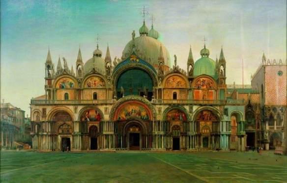 Bunney, John Wharlton, 1828-1882; Western Facade of the Basilica of San Marco, Venice