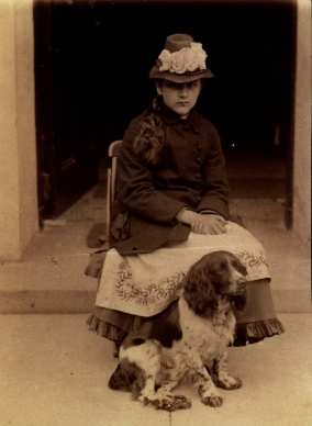 Beatrix Potter with her dog, Spot, at Dalguise