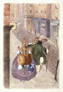 Lady rabbit and gentleman rabbit passing on the street, design for a Christmas card, 1890